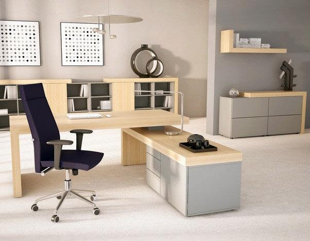 Auttica Executive Desk And Storage Units Light Wood Grey Finish