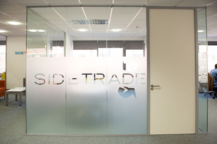 Glass Partitions With Frosted Window Film Company Logo