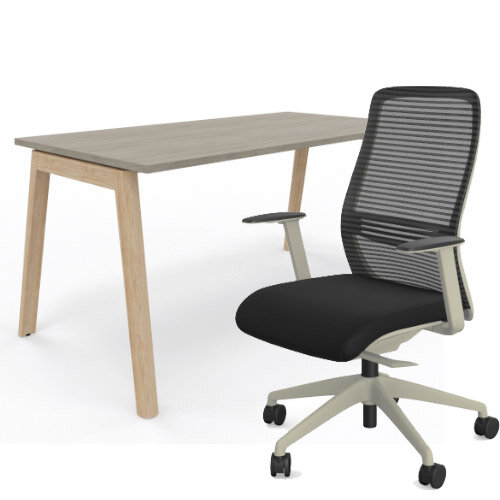 Nova Wood Home Office Desk Grey Desktop &Solid Ash Legs W1200xD700mm &NV Posture Office Chair with Contoured Mesh Back and Adjustable Lumbar Support Lime White Frame Black Seat
