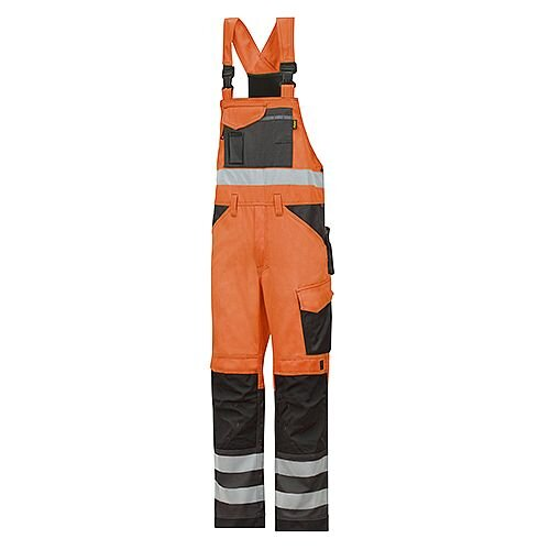 "Snickers 0113 High-Vis Bib &Brace Trousers Class 2 Size 108 39""/5'4"" Hi-Vis Orange/Black"