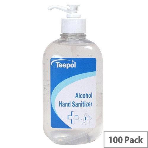Teepol - Fully Approved Ethanol Based Hand Sanitiser Gel 500ml PCS 97238 Pack of 100