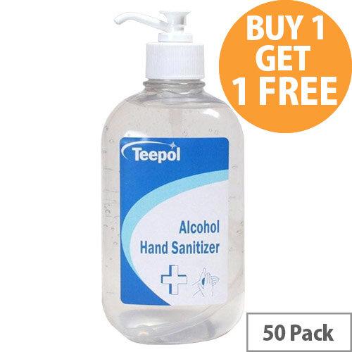 Teepol - Fully Approved Ethanol Based Hand Sanitiser Gel 500ml PCS 97238 Pack of 50