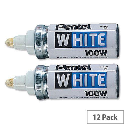 Pentel 100W White Permanent Marker Bullet Tip Broad Pack 12