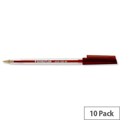 Staedtler 430 Stick Ball Pen Medium 1.0mm Tip 0.35mm Line Red Ref 430M-2 [Pack 10]