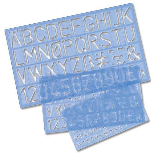 3 Piece Writing Stencil Pack Letters Numbers Symbols 10 - 30mm