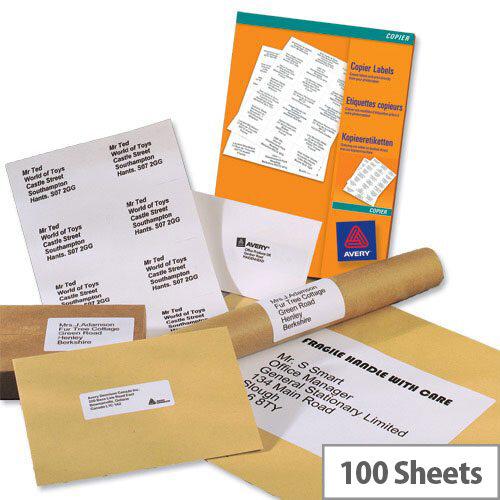 Avery 16 per Sheet Labels 105 x 37 Copier 3484 1600 Labels