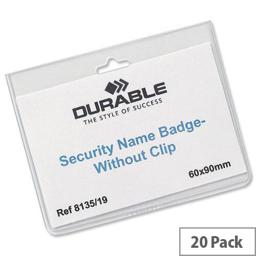 Durable Security Name Badges 90 x 60mm Pack 20