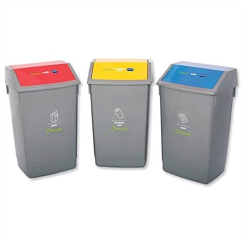 Addis Recycling Bins 3x 60L Kit - Colour Coded - Flip Top & Overspill Resistant Lids