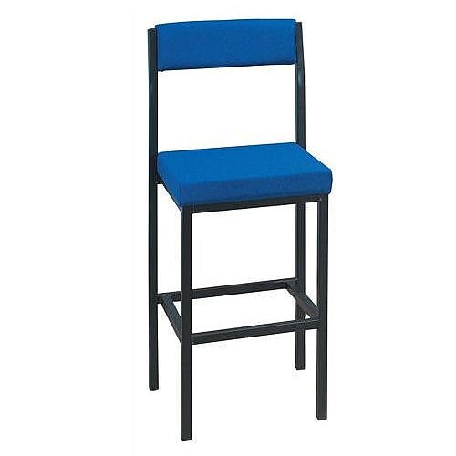 High Stool with Upholstered Backrest and Seat W410xD410xH700mm Blue 056908