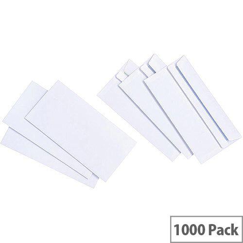 5 Star Value White DL Envelopes Self Seal Wallet 90gsm Pack of 1000