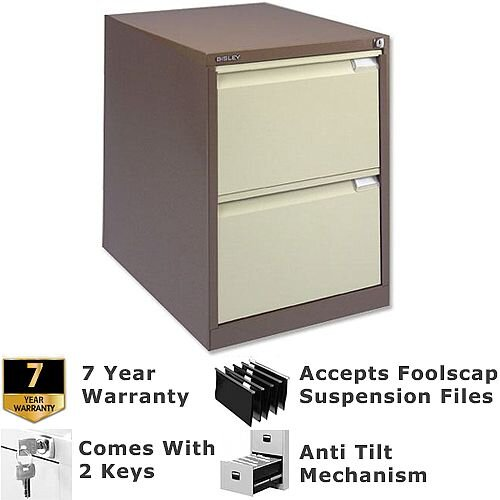 2 Drawer Steel Filing Cabinet Flush Front Brown Cream Bisley Bs2e