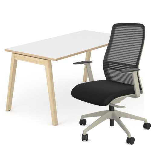Nova Wood Home Office Desk White Desktop with Oak Edging &Solid Ash Legs W1200xD700mm&V Posture Office Chair with Contoured Mesh Back and Adjustable Lumbar Support Lime White Frame Black Seat