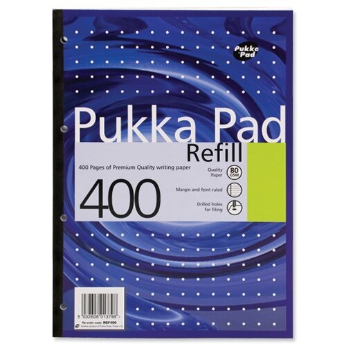 A4 Pukka Pad Refill Pad Sidebound Ruled with Margin Punched 80gsm 400pp White Ref REF400 [Pack 5]