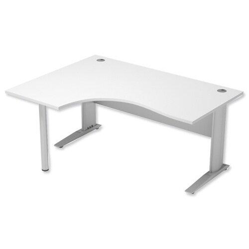 Cantilever Radial Office Desk Left Hand W1600xD1200xH725mm White Komo