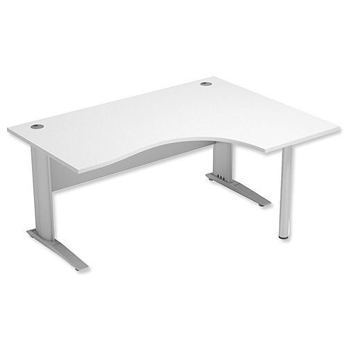 Cantilever Radial Office Desk Right Hand W1600xD1200xH725mm White Komo