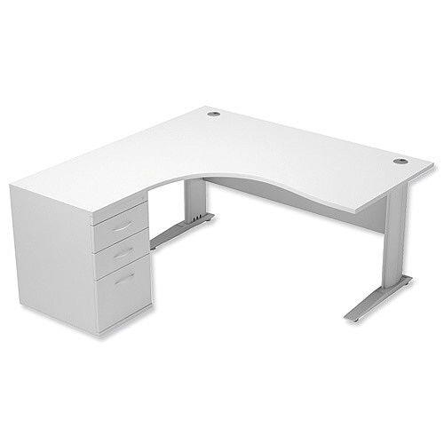 Radial Office Desk Left Hand With 600mm Desk-High Pedestal In White. Komo Range Bundle. Bundle Deal Includes Desk & Desk High Pedestal. Assembly Required.