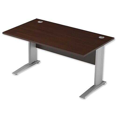 Cantilever Office Desk Rectangular W1400xD800xH725mm Dark Walnut Komo