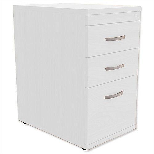 Filing Pedestal Desk-High 3-Drawer 600mm Deep White Kito