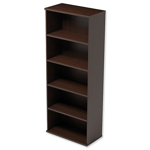 Tall Bookcase with Adjustable Shelves and Floor-leveller Feet W800xD420xH1850mm Dark Walnut Kito