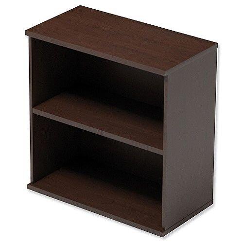 Kito Low Bookcase With Adjustable Shelves &Floor-leveller Feet W800xD420xH770mm Dark Walnut