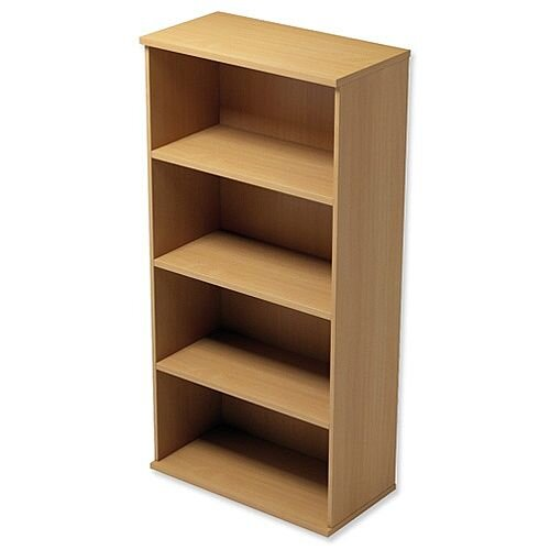 Medium Tall Bookcase with Adjustable Shelves and Floor-leveller Feet W800xD420xH1490mm Beech Kito