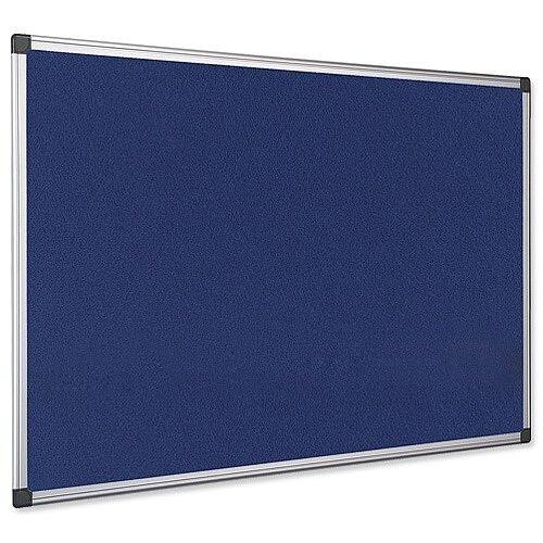 Bi-Office Notice Board Fire Retardant Fabric Alumimium Frame 900 x 600mm Blue Ref SA0301170