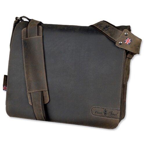 Pride & Soul Ben Shoulder Shoulder Strap Leather Brown Messenger Laptop Bag