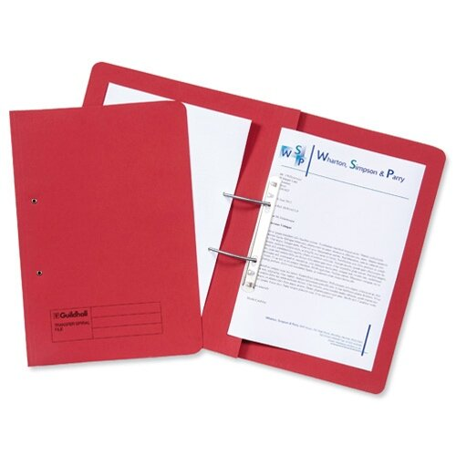 Guildhall Transfer Spring File 420gsm Pocket Foolscap Red 211/6005Z [Pack 25]