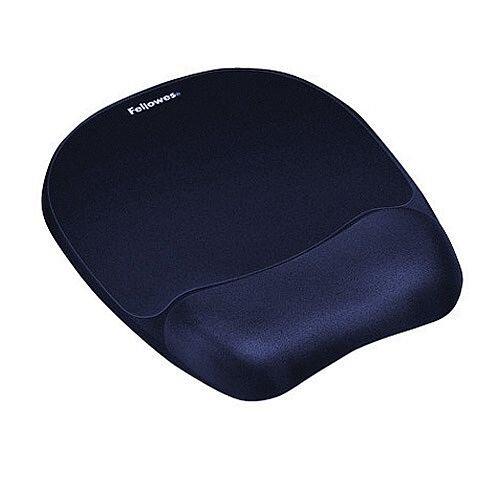 Fellowes Memory Foam Mousepad Wrist Support Blue Ref 9172801