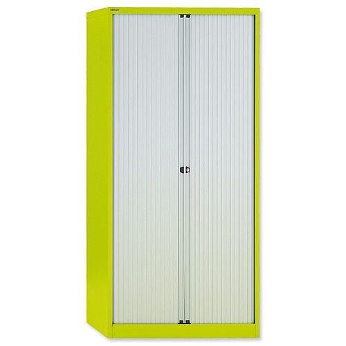 Bisley GLO Tambour Cupboard Steel Side-opening H1968mm Green Ref AST78W Lime