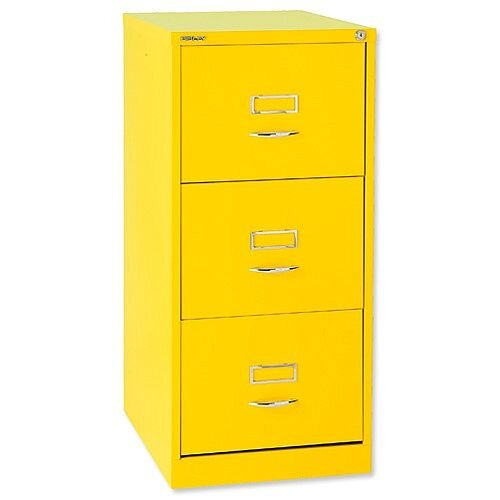 Bisley GLO 3-Drawer Filing Cabinet Yellow Lemon Ref BS3C