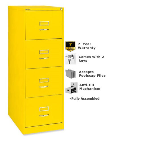 Bisley GLO Filing Cabinet 4-Drawer Lemon Yellow Ref BS4C