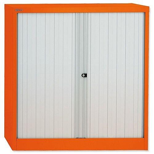 Bisley GLO Tambour Cupboard Steel Side-opening H1016mm Orange Ref AST40W Orange