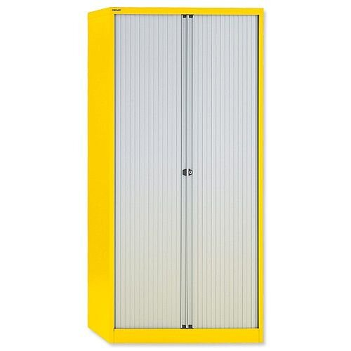 Bisley GLO Tambour Cupboard Steel Side-opening H1968mm Lemon Ref AST78W Yellow
