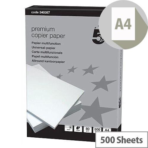 5 Star Premium Copier Paper A4 90gsm White 500 Sheets