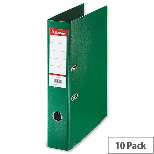 Esselte Lever Arch File Foolscap Green Pack 10