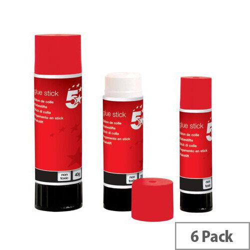 5 Star Glue Stick Medium 20g [Pack 6]