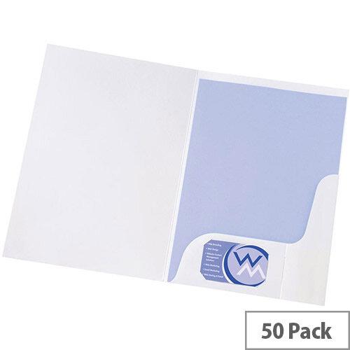 5 Star Presentation Folder Gloss White [Pack 50]