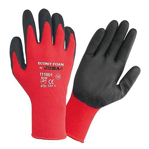 Juba Gloves Nitrile Foam Coated Red/Black Size 8 S/M-Men or L-Women Pack 1 Ref 303188080