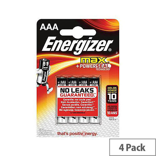 Energizer Max AAA Alkaline Batteries Pack of 4