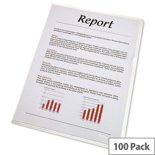 Esselte Cut Flush Folder Plastic A4 Clear 54830/54832 Pack 100
