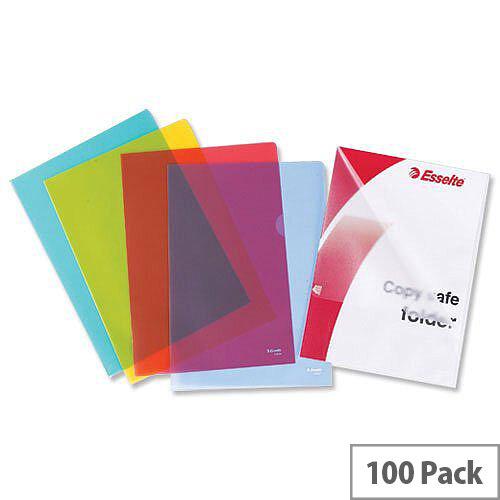 Esselte A4 Cut Flush Folder Plastic Yellow 54842 Pack 100