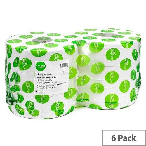 Maxima Green 76mm Core Dispenser Toilet Refill Paper Tissue Rolls 2 Ply Length 410m White Pack 6
