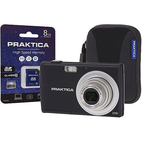 Praktica Luxmedia Z250  20MP  Digital Camera Kit 5x Optical Zoom 2.7 inch LCD  Black  with 8GB SDHC Memory Card and Compact Camera Case