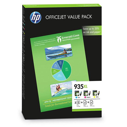 HP 935XL Officejet Value Pack Cyan/Magenta/Yellow Ink Cartridges + (A4) 25 Sheets 180gsm/2 Matt Paper + (A4) 50 Sheets HP All-in-One Printer Paper F6U78AE