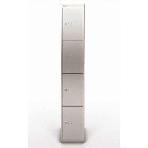 Bisley Steel Locker 457 Four Door Silver