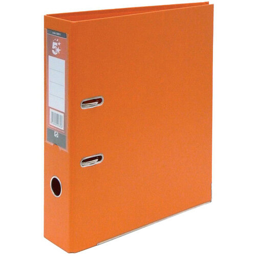 5 Star Office A4 Lever Arch File Plastic Orange Pack of 10