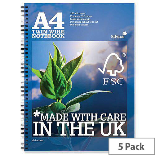 Silvine A4 Wirebound Notebook Perforated Punched Ruled Margin 160pp R202 Pack 5