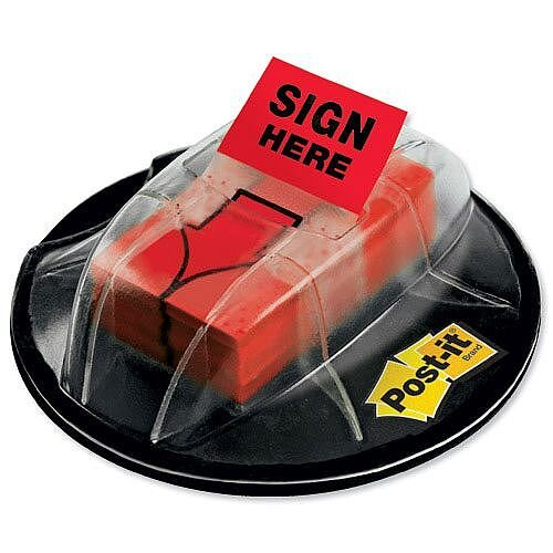 Post-it Index Desk Grip Dispenser Sign Here Flags Red