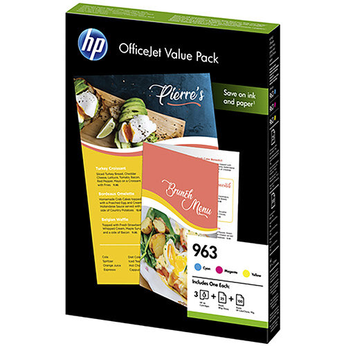 Hewlett Packard 963 Inkjet Office Value Pack Cyan/Magenta/Yellow With A4 Paper Ref 6JR42AE Pack of 3